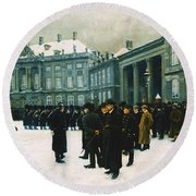 Changing Of The Guard At Amalienborg Palace Round Beach Towel