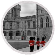 Changing Of The Guard At Windsor Castle Round Beach Towel