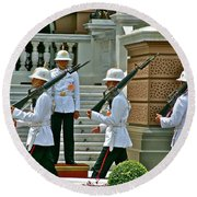 Changing Of The Guard Near Reception Hall At Grand Palace Of Thailand In Bangkok Round Beach Towel