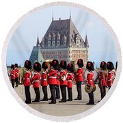 Changing Of The Guard The Citadel Quebec City Round Beach Towel