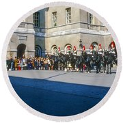 Changing Of The Horse Guard  Round Beach Towel