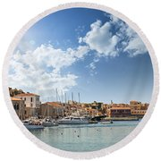 Chania Town On Crete Round Beach Towel