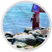 Channel Fishing Round Beach Towel