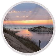 Channel Sunset Round Beach Towel