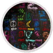 Chaos In Colors Round Beach Towel