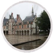 Chapel And Courtyard Chateau Blois Round Beach Towel