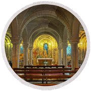 Chapel At Notre Dame Cathedral Verdun Round Beach Towel