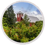 Chapel At The Antique Rose Emporium Round Beach Towel