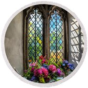 Chapel Flowers Round Beach Towel by Adrian Evans
