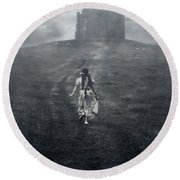 Chapel In Mist Round Beach Towel