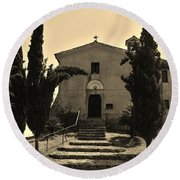Chapel Of San Amasio Round Beach Towel