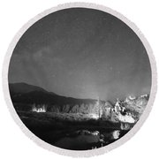 Chapel On The Rock Stary Night Portrait Bw Round Beach Towel