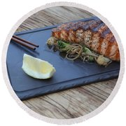 Char Grilled Salmon Round Beach Towel