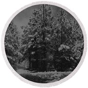 Charcoal Snowfall Round Beach Towel