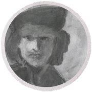 Charcoal Study Of Rembrandt  Self-portrait With Velvet Beret Round Beach Towel