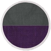 Charcoal With Purple Round Beach Towel