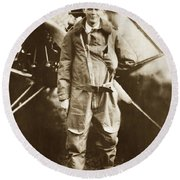 Charles A. Lindbergh And Spirit Of St. Louis May 12 1927 Round Beach Towel