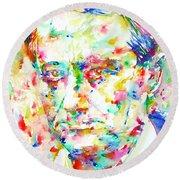 Charles Baudelaire Watercolor Portrait.1 Round Beach Towel