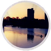Charles River Rower At Dawn Round Beach Towel by Kenny Glotfelty