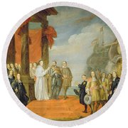 Charles V Leaving The Town Of Dort Round Beach Towel