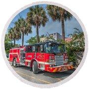 Charleston Fire Dept  Round Beach Towel