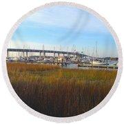 Charleston Harbor And Marsh Round Beach Towel