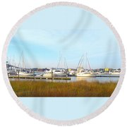 Charleston Harbor Boats Round Beach Towel