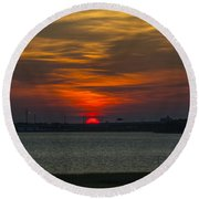 Charleston Sc Sunset Round Beach Towel