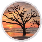 Charleston South Carolina Edisto Island Beach Sunrise Round Beach Towel