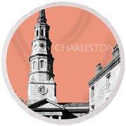 Charleston St. Phillips Church - Salmon        Round Beach Towel