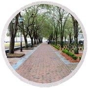 Charleston Waterfront Park Walkway Round Beach Towel