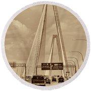 Charleston's Magnificent Cable Bridge In Sepia Round Beach Towel