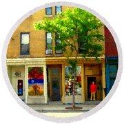 Charlevoix And Notre Dame Little Antique Shops St Henri Art Montreal Street Scene Carole Spandau Round Beach Towel