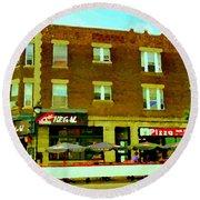 Charlevoix Pizza Et Chic Regal Rue Centre Scenes De Rue Pointe St Charles City Scenes Carole Spandau Round Beach Towel
