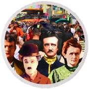 Charlie And Friends Tries To Blend In With The Crowd 5d23867 Round Beach Towel