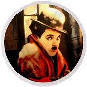 Charlie Chaplin Round Beach Towel by Jay Milo