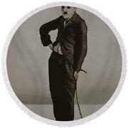 Charlie Chaplin Painting Round Beach Towel by Paul Meijering