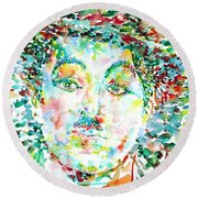 Charlie Chaplin - Watercolor Portrait Round Beach Towel