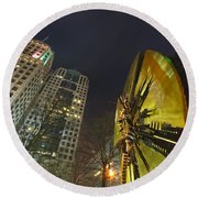 Charlotte Downtown At Night Round Beach Towel