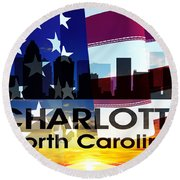 Charlotte Nc Patriotic Large Cityscape Round Beach Towel
