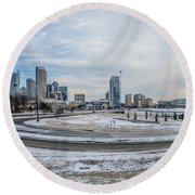 Charlotte North Carolina Skyline In Winter Round Beach Towel