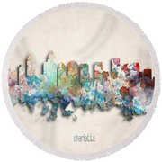 Charlotte Painted City Skyline Round Beach Towel by World Art Prints And Designs