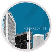 Charlotte Skyline 1 - Steel Round Beach Towel