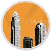 Charlotte Skyline 2 - Orange Round Beach Towel