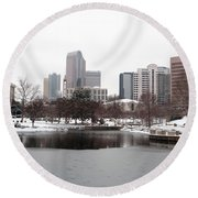 Charlotte Skyline In Snow Round Beach Towel