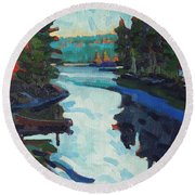 Charlton Lake Camp Sunrise Round Beach Towel
