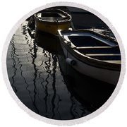 Charming Old Wooden Boats In The Harbor Round Beach Towel