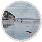 Charmouth Beach 2 Round Beach Towel