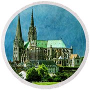 Chartres Cathedral Round Beach Towel