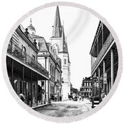 Chartres St In The French Quarter 3 Round Beach Towel